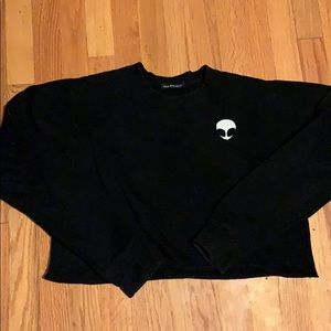Alien patch Black crop sweater